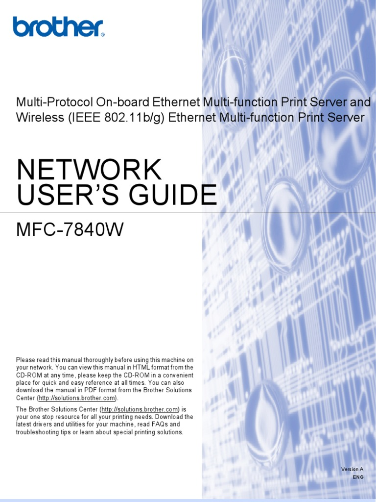 Brother MFC-7840W Network User's Guide | Computer Network