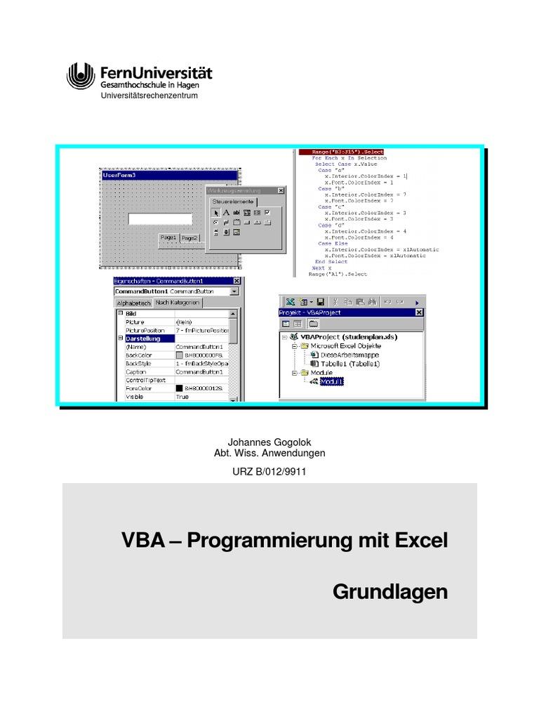 Vba-programmierung Mit Excel Grundlagen