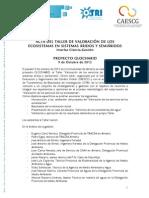 Acta del Taller Valoración de los Servicios de los Ecosistemas en Sistemas Áridos y Semiáridos | Proyecto GLOCHARID | 09/10/2012