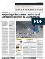 Arqueológos hallan tumbas en el Santuario Histórico de Machu Picchu