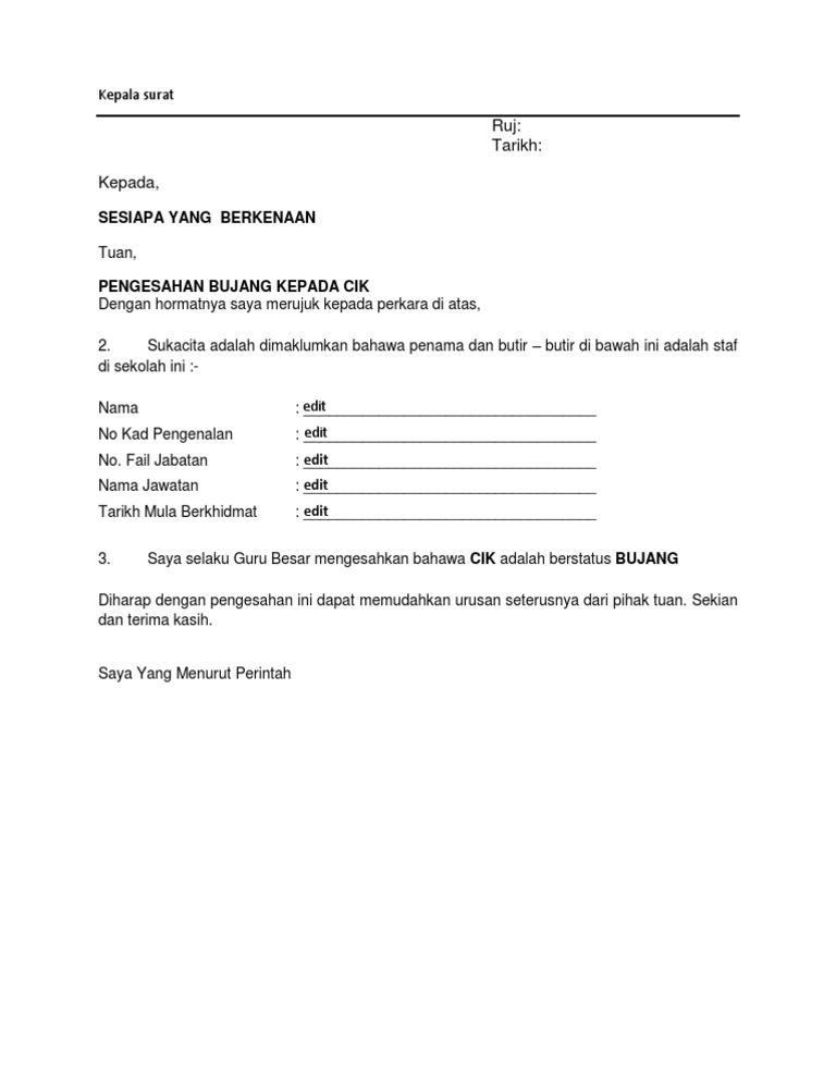 Contoh Surat Pengesahan Bujang Majikan Contoh Surat