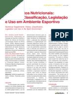 Suplementos nutricionais Histórico Classificação legislação e uso em ambiemte esportivo