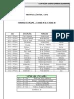 Conteudo + horário aulas - 2ª série