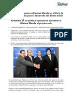 Telefónica y Mastercard lanzan Wanda en el Perú, la nueva compañía para el desarrollo del dinero móvil