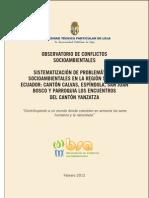 Sistematizaciones problemáticas socio-ambientales región sur Ecuador (2011)