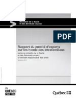Rapport du comité d'experts sur les homicides intrafamiliaux