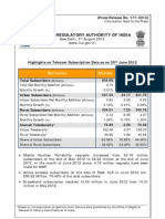 Highlights of Telecom Subscription Data as on 30th June 2012