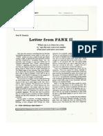 A Letter from FANX II (Friendship Annex II)