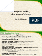 Nine years at IRRI, nine years of change