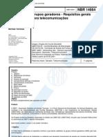 NBR 14664 - Grupos Geradores - Requisitos Gerais Para Telecomunicacoes