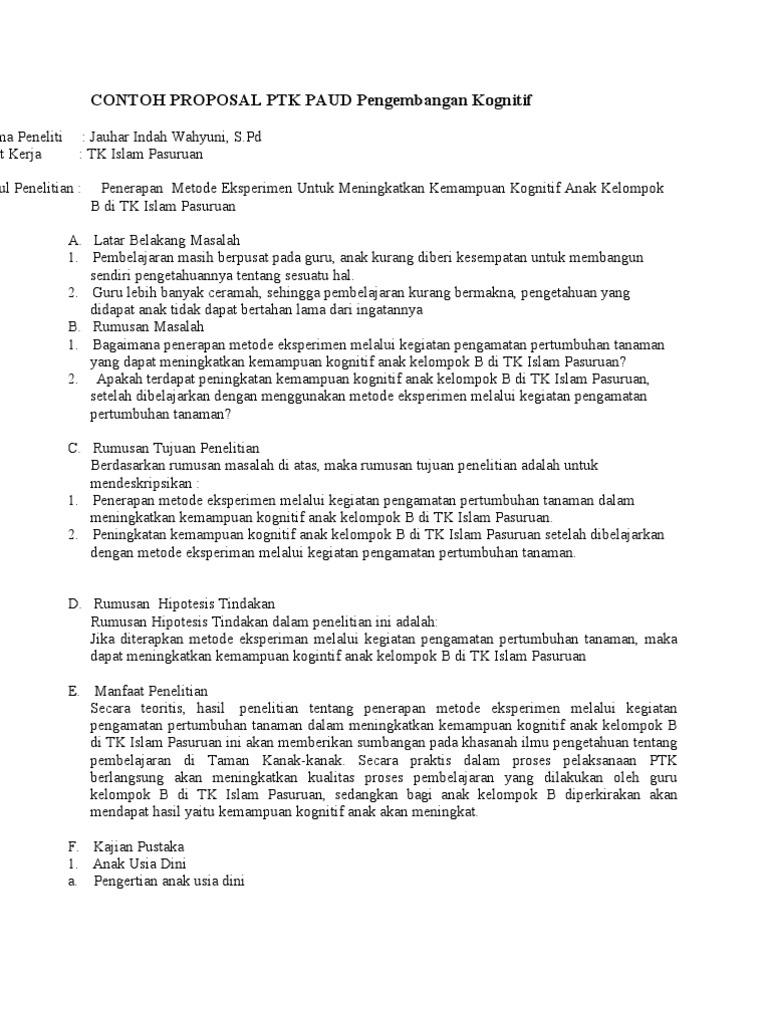 Contoh Proposal Penelitian Kualitatif Pendidikan Anak Usia Dini Berbagi Contoh Proposal