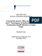 'I know this person. Why must I go to him?' Techniques of Authority Among Community Health Workers in Cape Town
