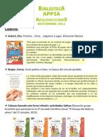 Biblioteca APPIA - Adquisiciones Nov 2012