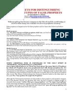 SUPER-KEYS FOR DISTINGUISHING VARIOUS TYPES OF FALSE-PROPHETS.