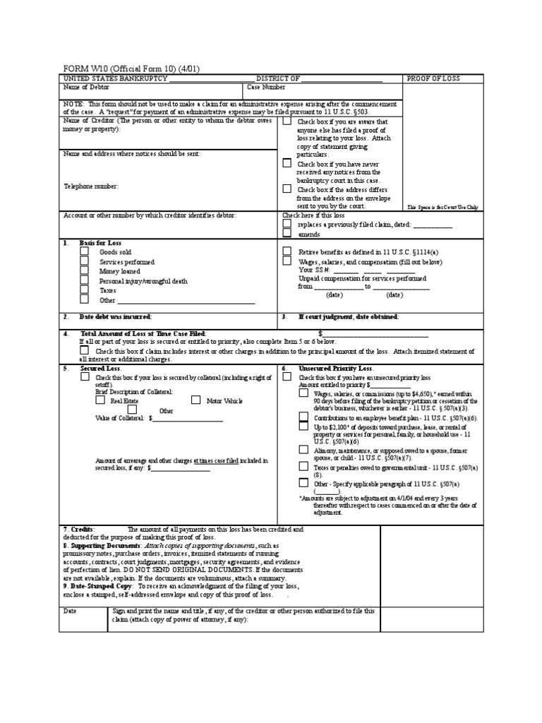 form w 10 | Bankruptcy In The United States | Lien