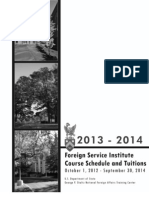 Foreign Service Institute 2012 Course Schedule &Tuitions