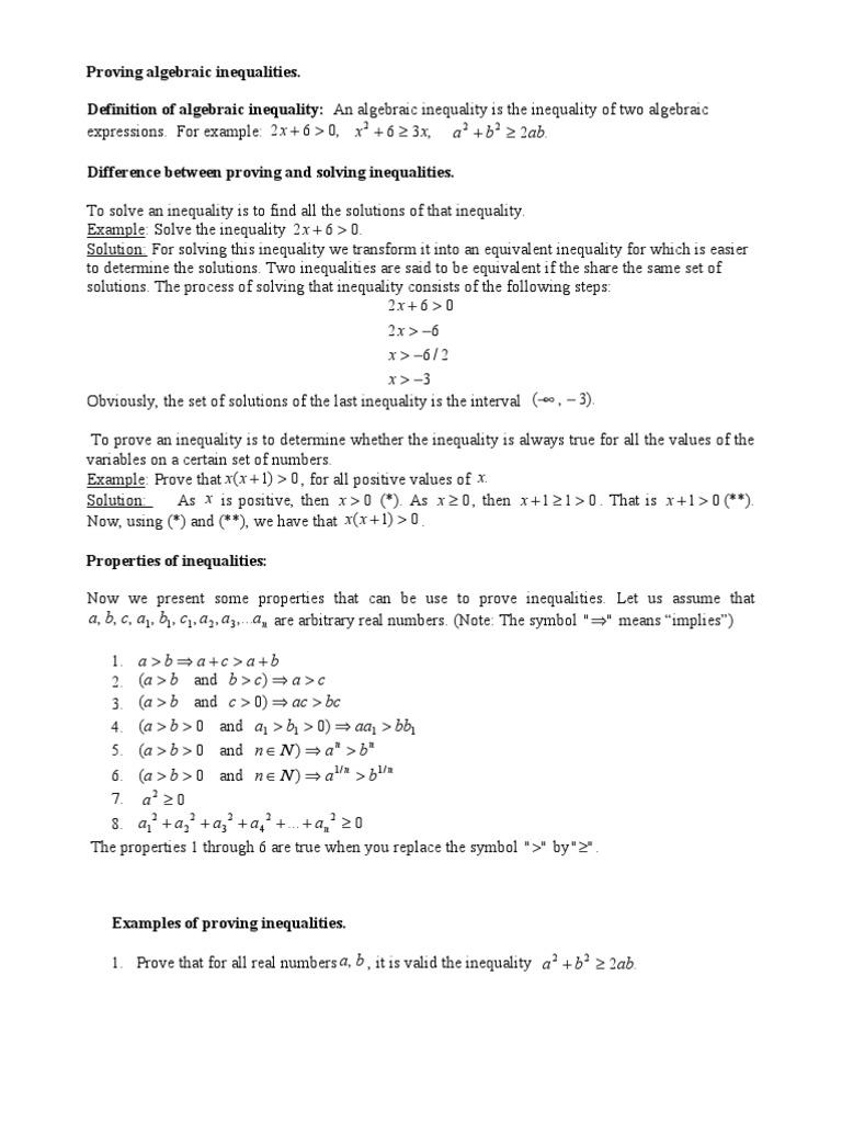 Proving Algebraic Inequalities Inequality Mathematics