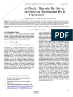 Denoising of Radar Signal by Using Wavelets and Dopple Estimation by S Transform