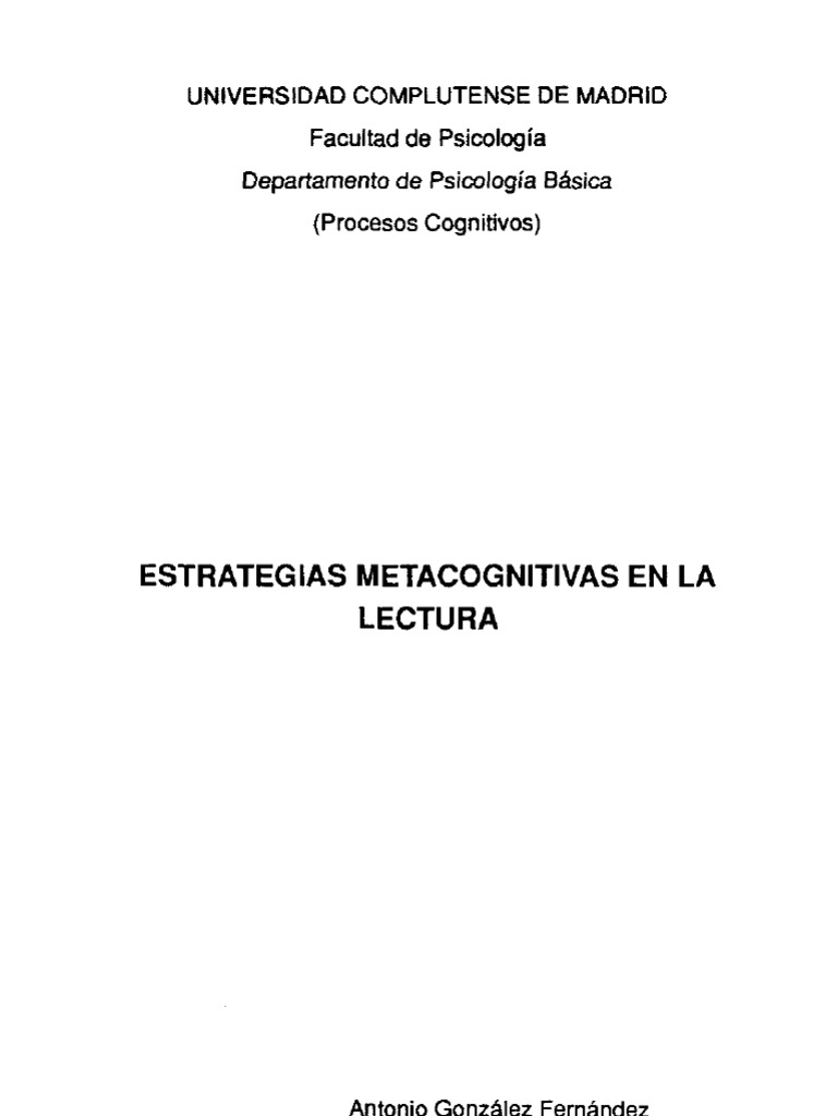 Estrategias Metacognitivas de Lectura