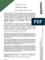 Presseerklärung vom 24.11.12 Detox  Mode muss entgiften