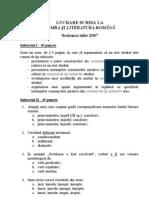 Academia Nationala de Informatii - Subiect Limba si Literatura Romana (2007)