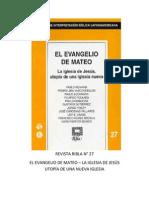 Ribla 27 - El Evangelio de Mateo La Iglesia de Jesus Utopia de Una Iglesia Nueva