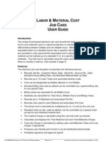 Labor & Material Cost Estimator and Job Card Template User Guide