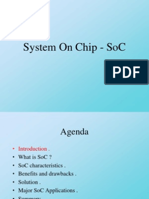System On Chip Soc 1 Chapter 1 System On A Chip Microprocessor