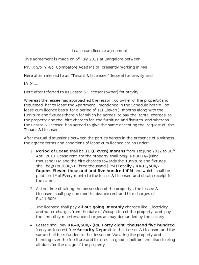 Lease Cum Licence Agreement Uplo Lease License