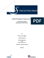 Sutton Trust - Spending the Pupil Premium and Strategies to Improve Learning 2011
