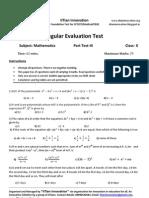 Regular Evaluation Test III Maths+Science X