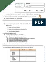 Ficha Avaliação Cn6 para alunos com NEE - Alimentação e S. digestivo humano