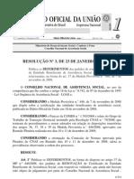 Resolução CNAS n.º 3, de 23 de Janeiro de 2009