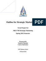 Outline for Strategic Marketing Plan Term Project