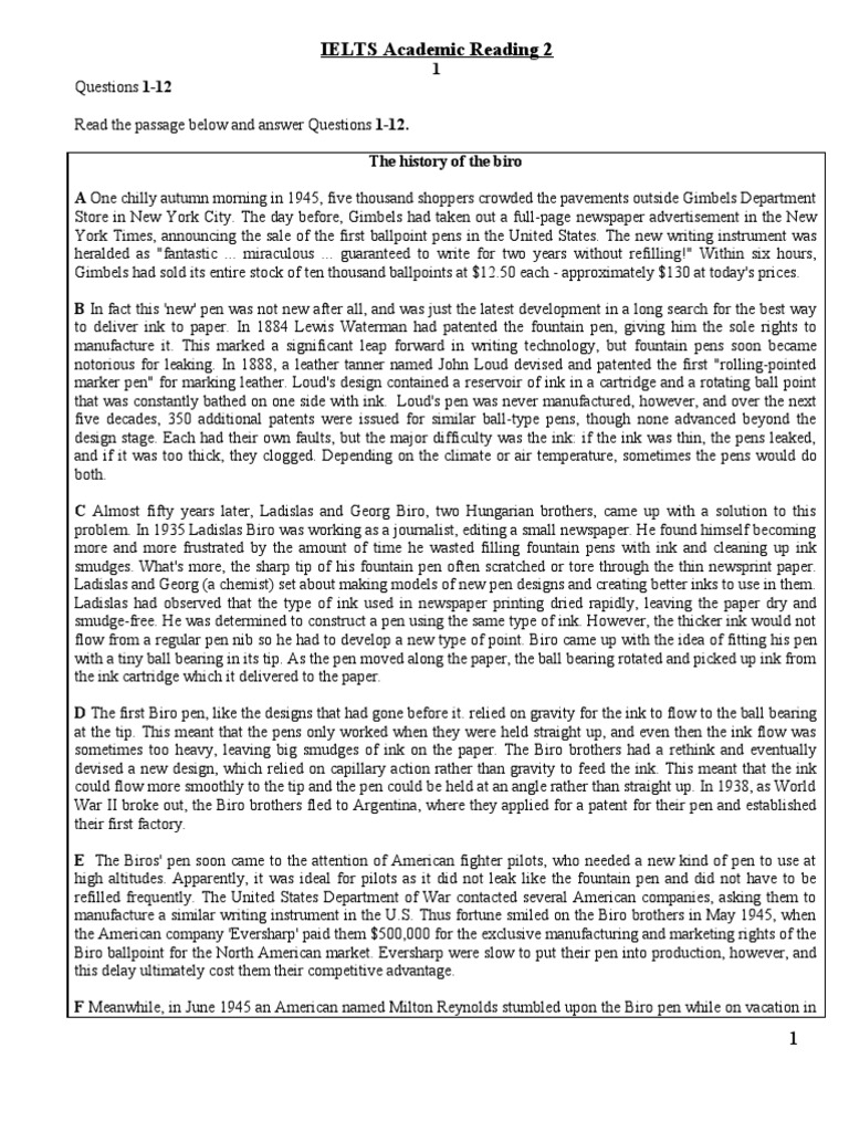 IELTS Academic Reading 2 | Cocoa Bean | Pen