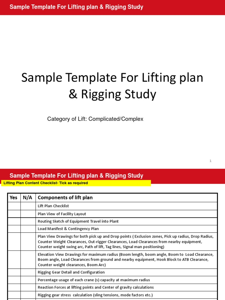 Sample Lifting Plan and Rigging Study | Elevator | Crane