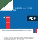 Ranking de reclamos en autopistas y rutas Concesionadas de Chile comparacion 2011 y 2010, Sernac