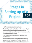 Stages in setting up of a project