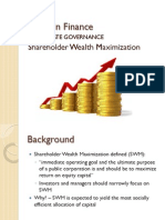 Wk8 Corporate Governance Shareholder Wealth Maximization Fall 2012
