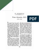 Franz Alexander, M.D.