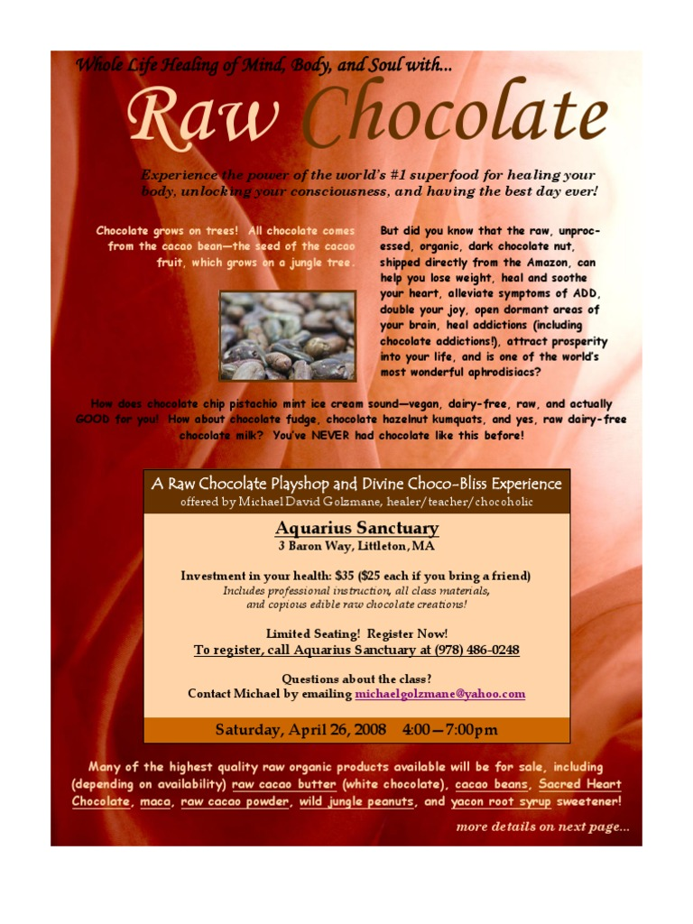 Raw Chocolate Class Flyer as (2 Pages) | Chocolate