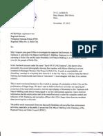 Letter to P/Chief Supt. Agrimero Cruz, PNP Regional Office 6 Regional Director
