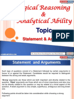 Logical Reasoning and Analytical Ability Statement Arguments