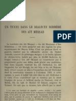 Un texte berbère dans le dialecte berbère des Ait Messad - E.Laoust