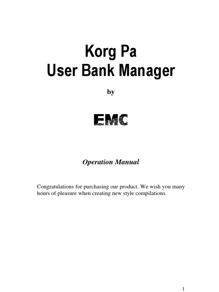 Korg Pa User Bank Manager English | Installation (Computer Programs