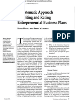 A Systematic Approach to Writing and Rating Entreprenuerial Business Plan