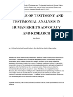 'The Role of Testimony and Testimonial Analysis in Human Rights Advocacy and Research' in State Crime