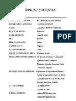 Federal Mouau University Curriculum Vitae