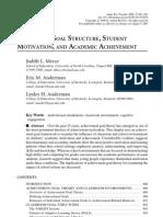 Seminar 3 Classroom Goal Structure, Student Motivation and Academic Achievement