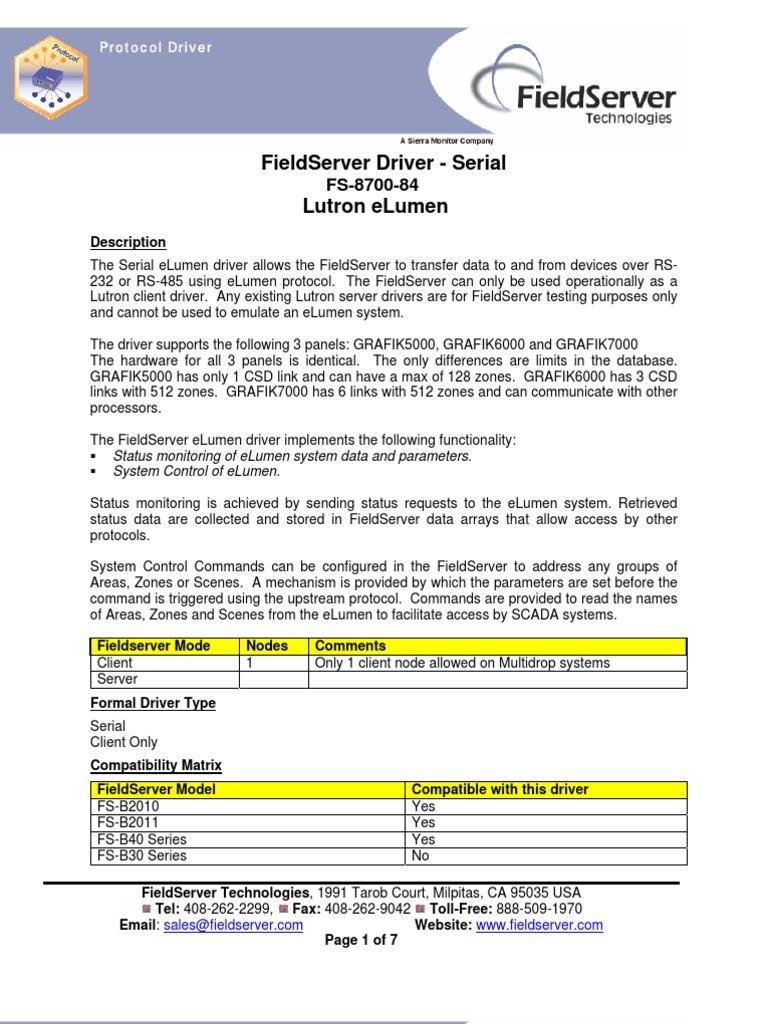 Fst Dfs Lutron Elumen Device Driver Computer Data Fieldserver Wiring Diagram